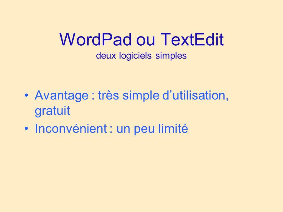 WordPad ou TextEdit deux logiciels simples Avantage : très simple dutilisation, gratuit Inconvénient : un peu limité