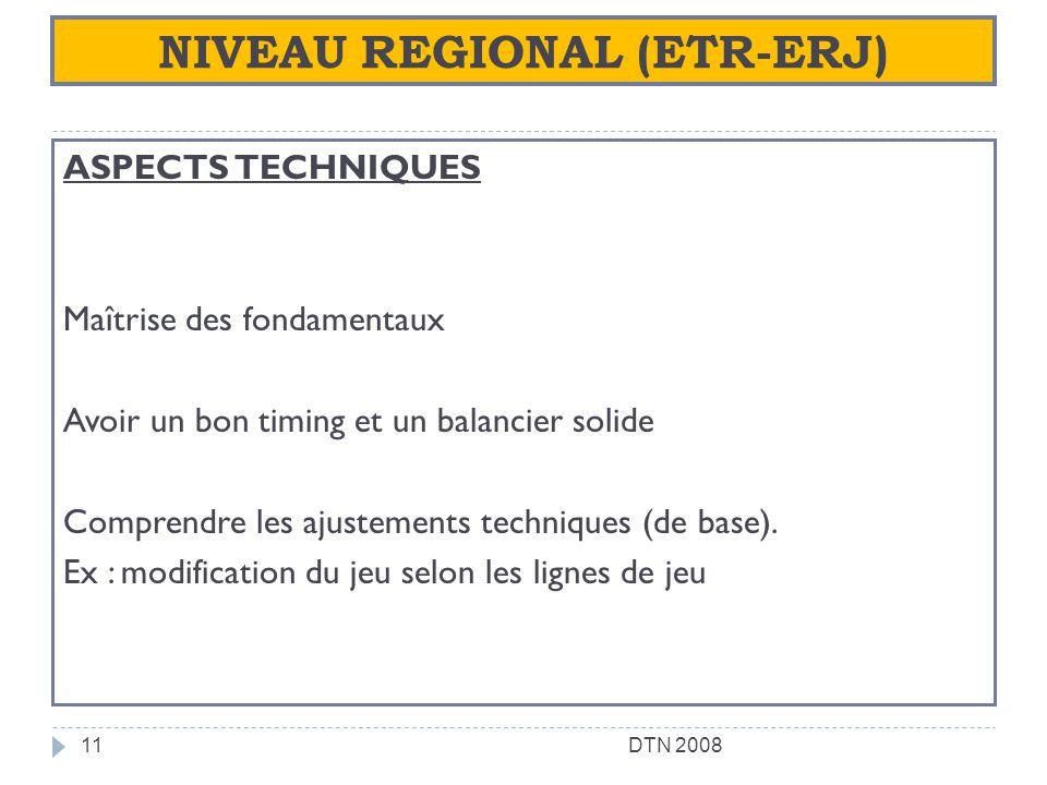 NIVEAU REGIONAL (ETR-ERJ) ASPECTS TECHNIQUES Maîtrise des fondamentaux Avoir un bon timing et un balancier solide Comprendre les ajustements technique