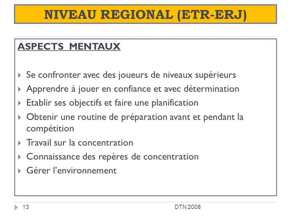 NIVEAU REGIONAL (ETR-ERJ) ASPECTS MENTAUX Se confronter avec des joueurs de niveaux supérieurs Apprendre à jouer en confiance et avec détermination Et