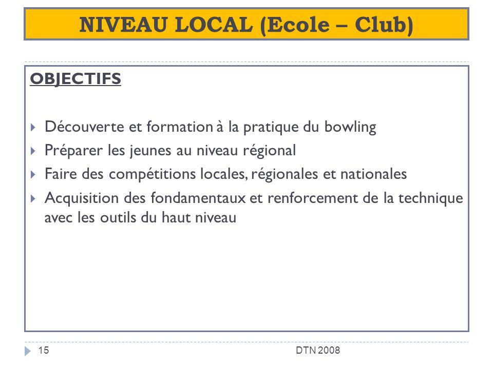 NIVEAU LOCAL (Ecole – Club) OBJECTIFS Découverte et formation à la pratique du bowling Préparer les jeunes au niveau régional Faire des compétitions l