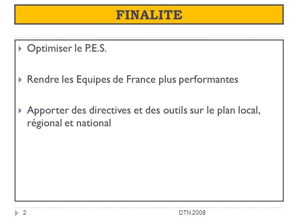 FINALITE Optimiser le P.E.S. Rendre les Equipes de France plus performantes Apporter des directives et des outils sur le plan local, régional et natio