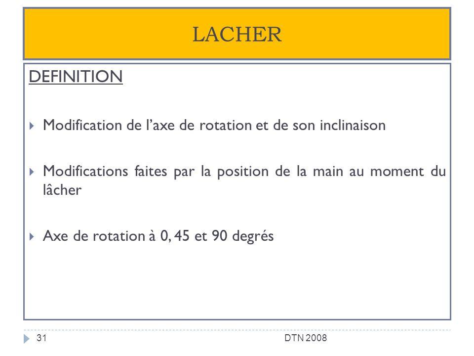 LACHER DEFINITION Modification de laxe de rotation et de son inclinaison Modifications faites par la position de la main au moment du lâcher Axe de ro