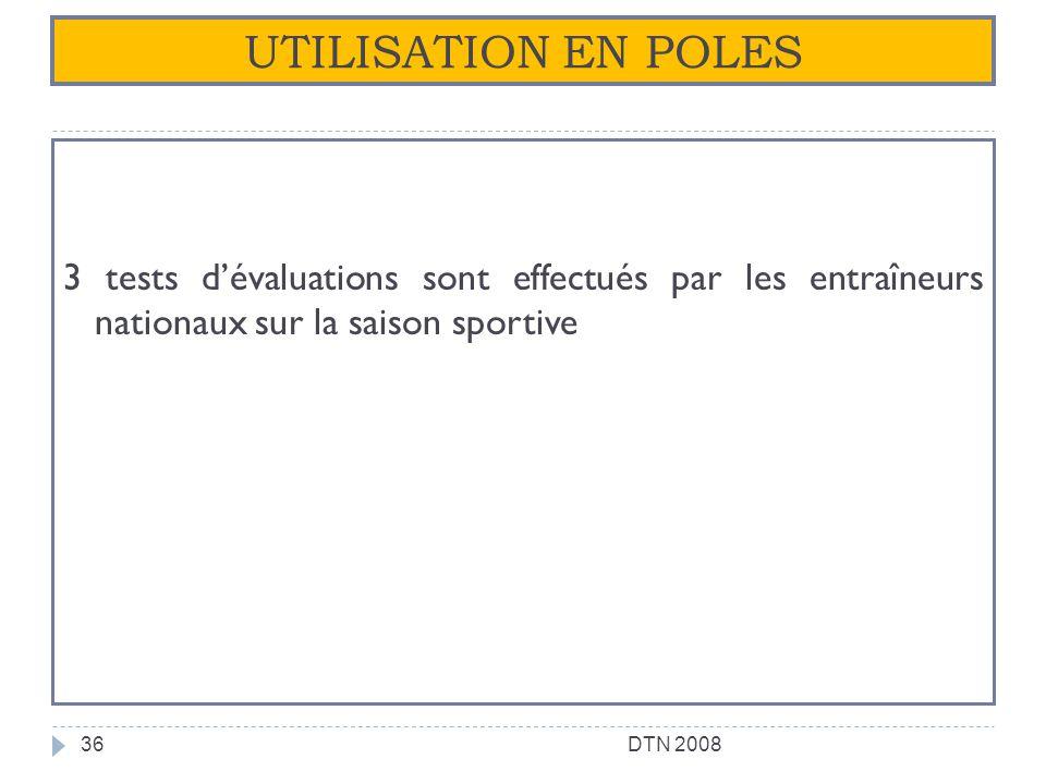 UTILISATION EN POLES 3 tests dévaluations sont effectués par les entraîneurs nationaux sur la saison sportive 36DTN 2008
