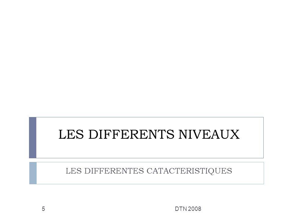 LES DIFFERENTS NIVEAUX LES DIFFERENTES CATACTERISTIQUES DTN 20085