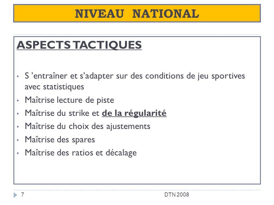 NIVEAU NATIONAL ASPECTS TACTIQUES S entraîner et sadapter sur des conditions de jeu sportives avec statistiques Maîtrise lecture de piste Maîtrise du