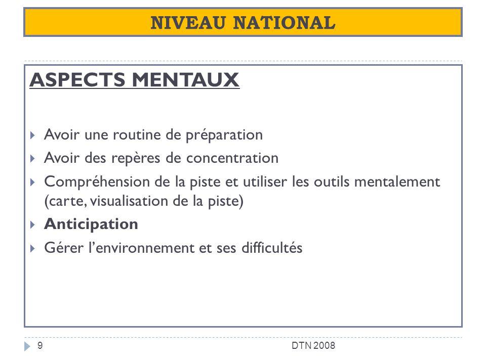 NIVEAU NATIONAL ASPECTS MENTAUX Avoir une routine de préparation Avoir des repères de concentration Compréhension de la piste et utiliser les outils m