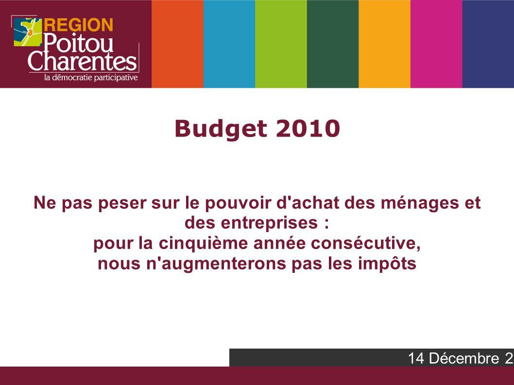 Budget 2010 Ne pas peser sur le pouvoir d achat des ménages et des entreprises : pour la cinquième année consécutive, nous n augmenterons pas les impôts