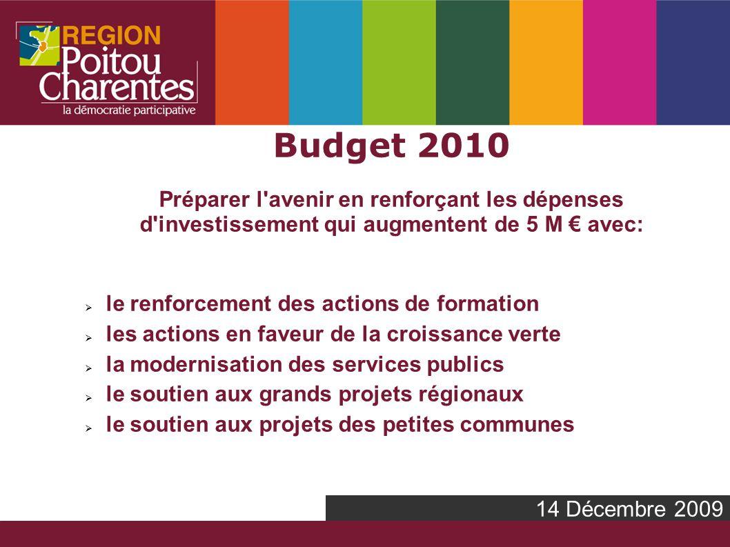 14 Décembre 2009 Budget 2010 Préparer l avenir en renforçant les dépenses d investissement qui augmentent de 5 M avec: le renforcement des actions de formation les actions en faveur de la croissance verte la modernisation des services publics le soutien aux grands projets régionaux le soutien aux projets des petites communes
