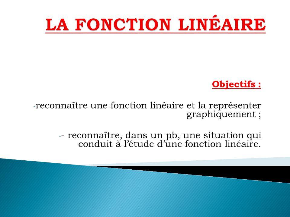 Objectifs : - reconnaître une fonction linéaire et la représenter graphiquement ; - - reconnaître, dans un pb, une situation qui conduit à létude dune
