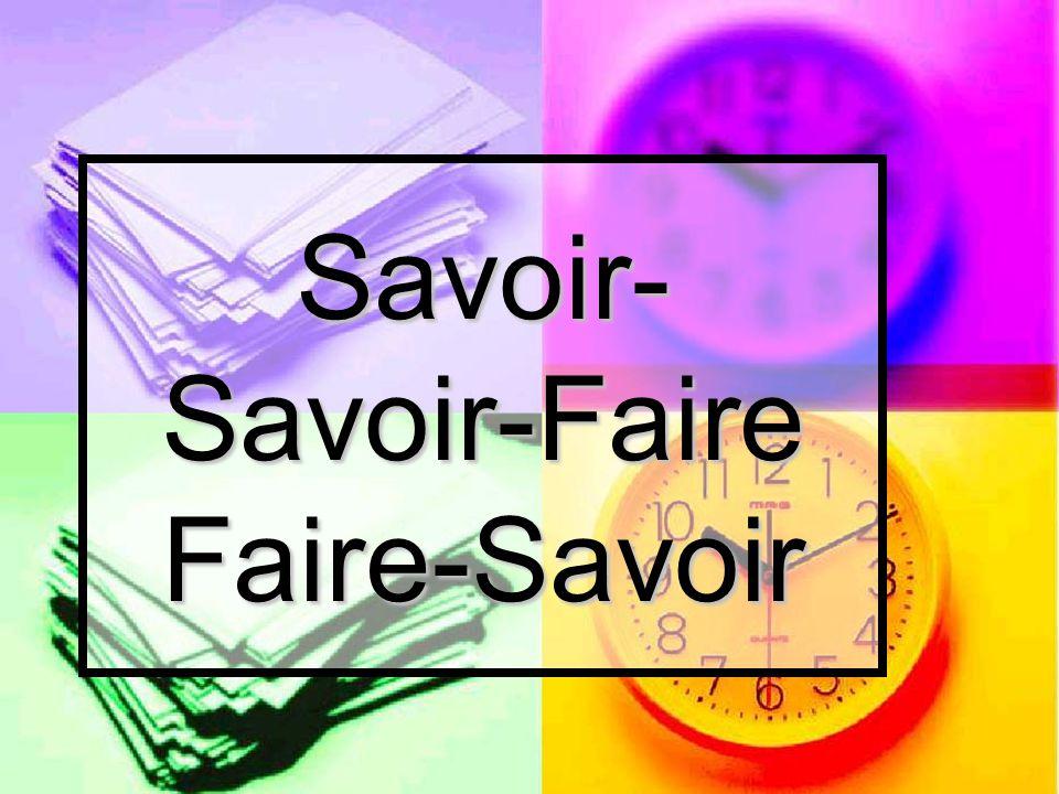 Savoir- Savoir-Faire Faire-Savoir