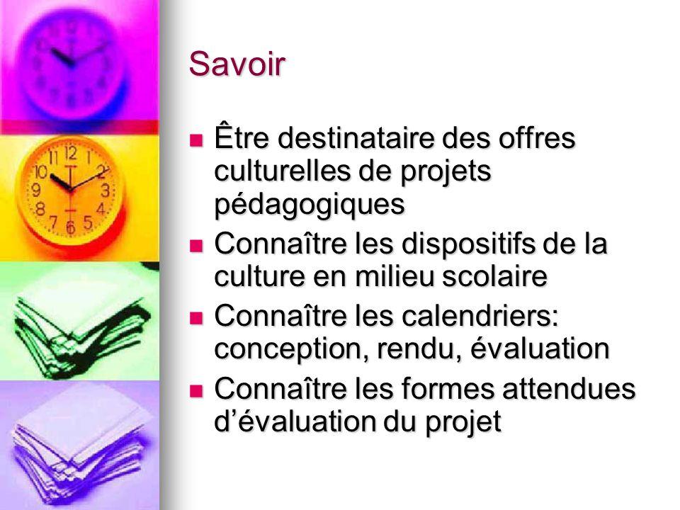 Savoir Être destinataire des offres culturelles de projets pédagogiques Être destinataire des offres culturelles de projets pédagogiques Connaître les