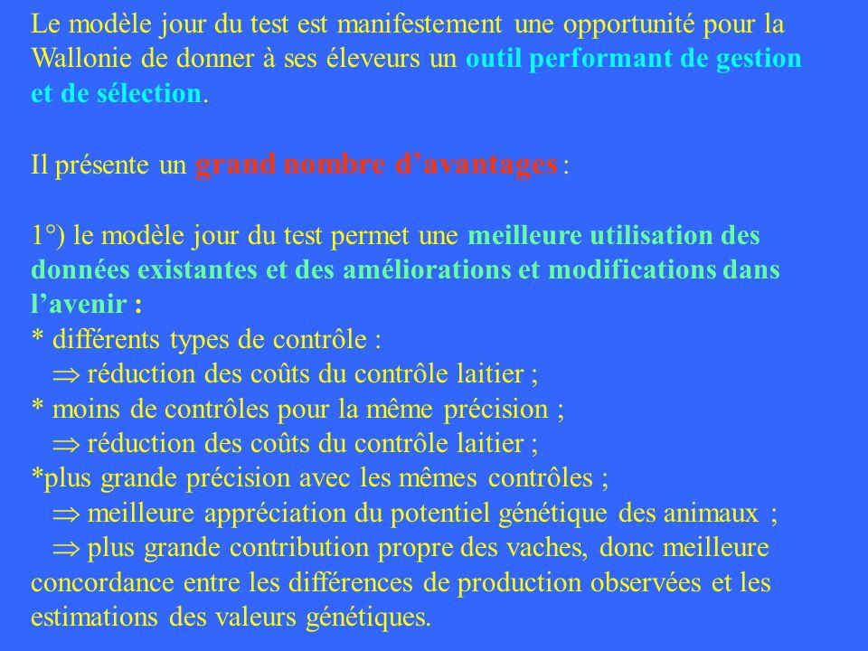 Le modèle jour du test est manifestement une opportunité pour la Wallonie de donner à ses éleveurs un outil performant de gestion et de sélection. Il