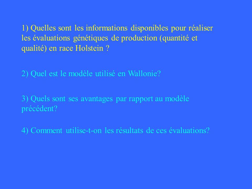 1) Quelles sont les informations disponibles pour réaliser les évaluations génétiques de production (quantité et qualité) en race Holstein ? 2) Quel e