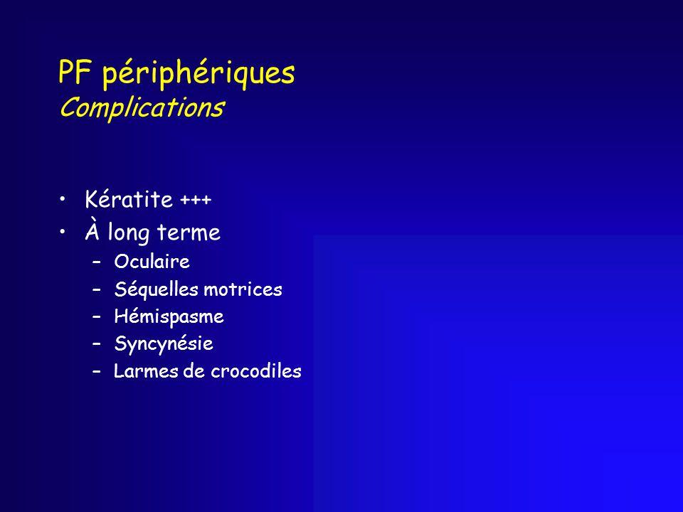 PF périphériques Complications Kératite +++ À long terme –Oculaire –Séquelles motrices –Hémispasme –Syncynésie –Larmes de crocodiles