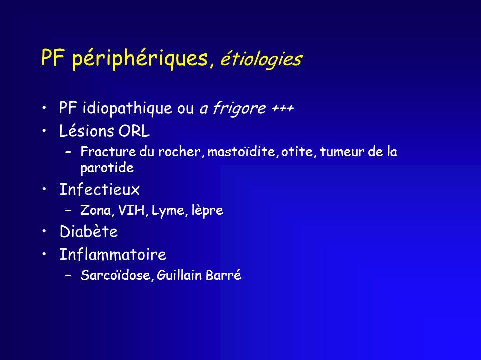 PF périphériques, étiologies PF idiopathique ou a frigore +++ Lésions ORL –Fracture du rocher, mastoïdite, otite, tumeur de la parotide Infectieux –Zona, VIH, Lyme, lèpre Diabète Inflammatoire –Sarcoïdose, Guillain Barré