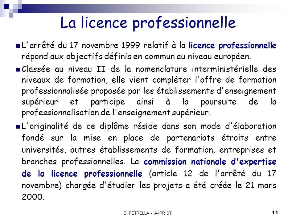 D.PETRELLA - IA-IPR STI 12 Une formation qualifiante pour l emploi.
