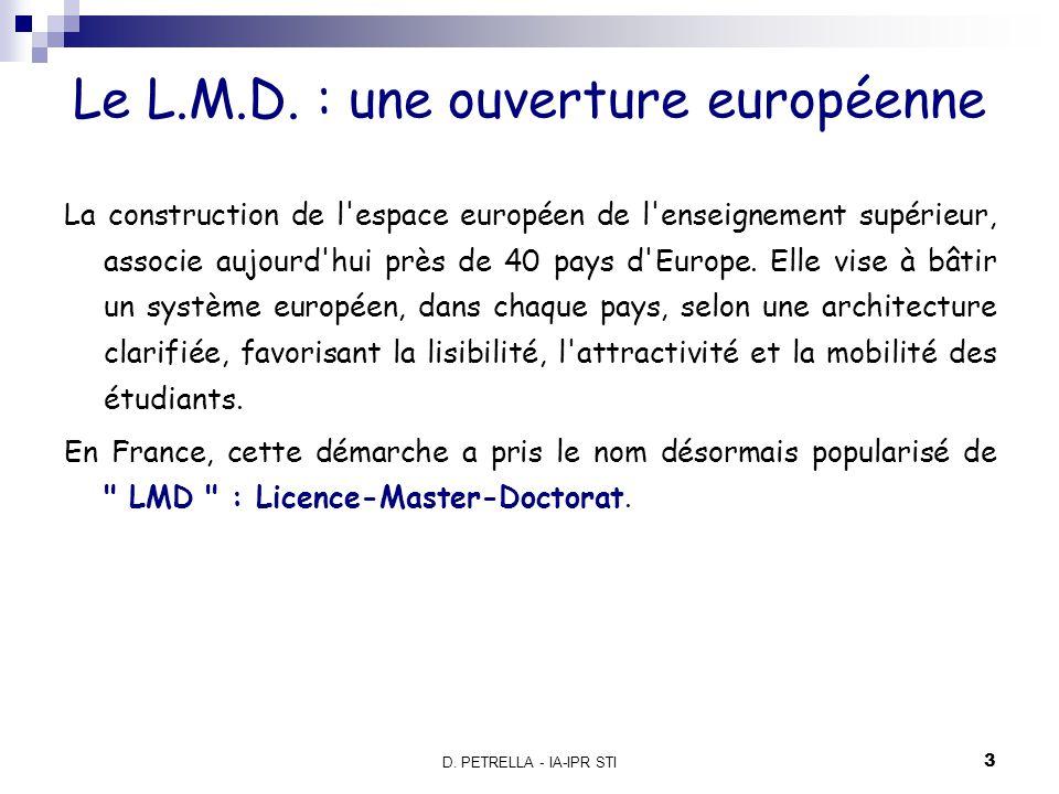 D. PETRELLA - IA-IPR STI 4 Le cursus L.M.D.