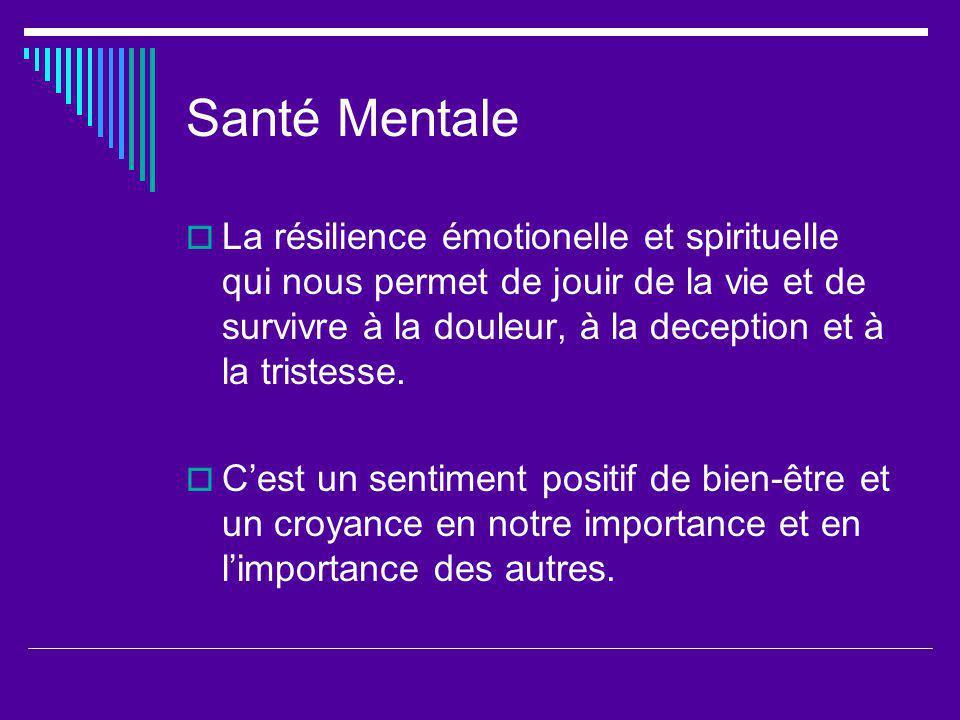 Santé Mentale La résilience émotionelle et spirituelle qui nous permet de jouir de la vie et de survivre à la douleur, à la deception et à la tristesse.