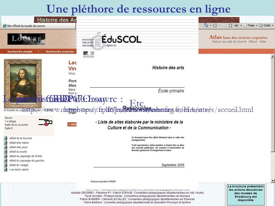 Le portail CRDP dAlsace : http://www.crdp-strasbourg.fr/mini_cr/histarts/ Une pléthore de ressources en ligne Le site des CPD 67 : http://cpd67.site2.ac-strasbourg.fr/HA/ Le site du musée du Louvre : http://www.louvre.fr Le site du musée dOrsay : http://www.musee-orsay.fr/fr/collections/oeuvres-commentees/accueil.html Etc.