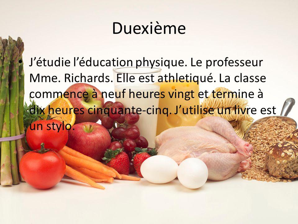 Duexième Jétudie léducation physique. Le professeur Mme.