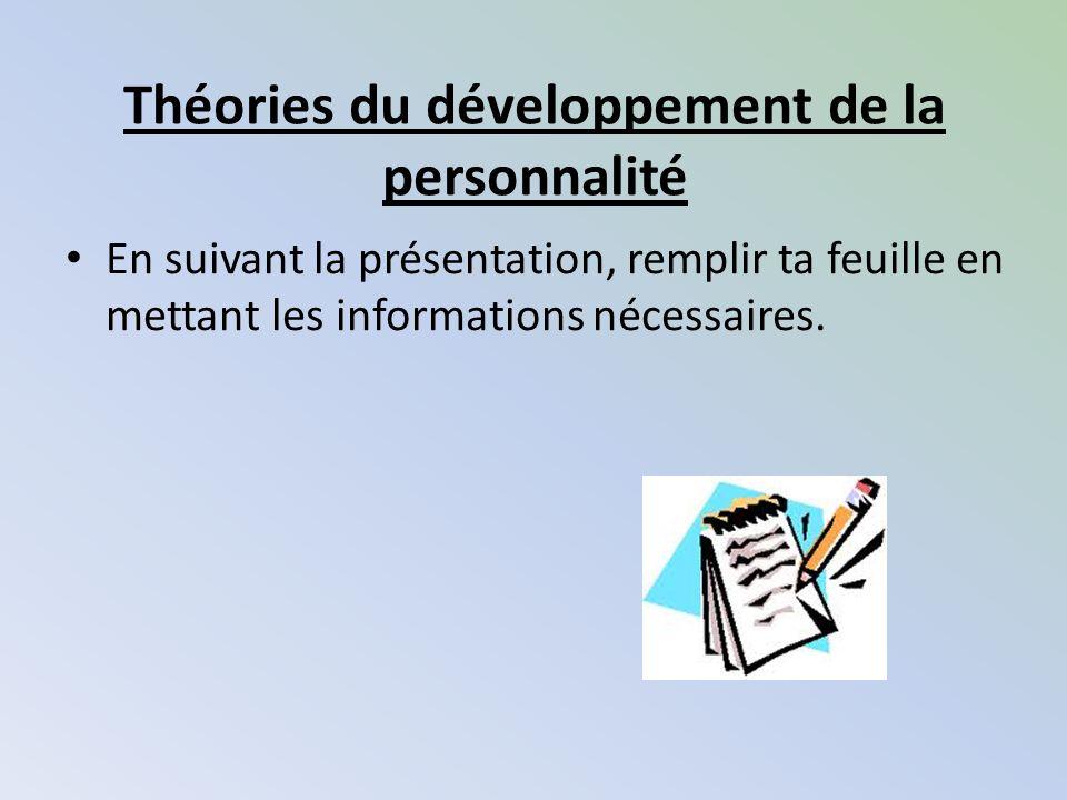 Théories du développement de la personnalité En suivant la présentation, remplir ta feuille en mettant les informations nécessaires.