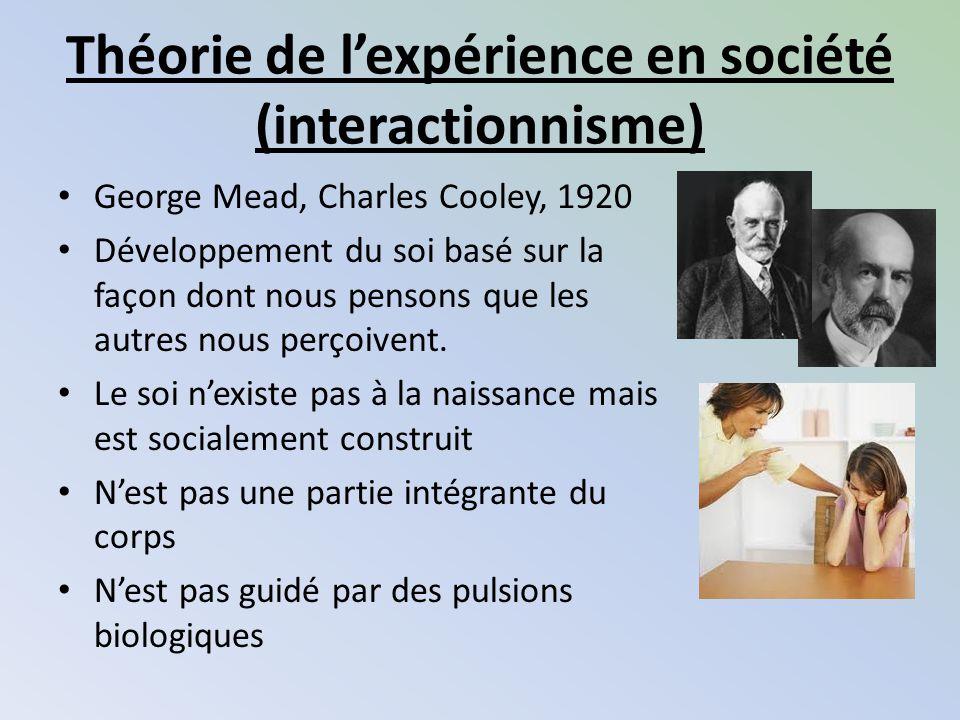 Théorie de lexpérience en société (interactionnisme) George Mead, Charles Cooley, 1920 Développement du soi basé sur la façon dont nous pensons que le