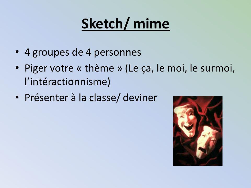 Sketch/ mime 4 groupes de 4 personnes Piger votre « thème » (Le ça, le moi, le surmoi, lintéractionnisme) Présenter à la classe/ deviner