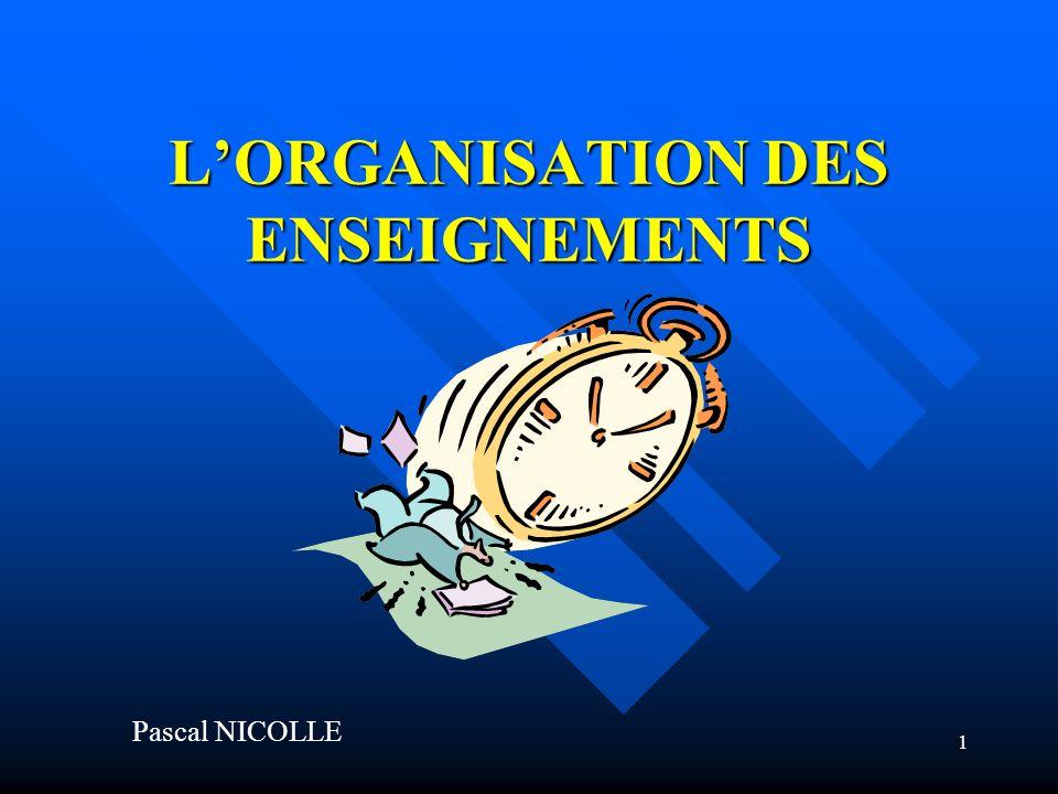 1 LORGANISATION DES ENSEIGNEMENTS Pascal NICOLLE