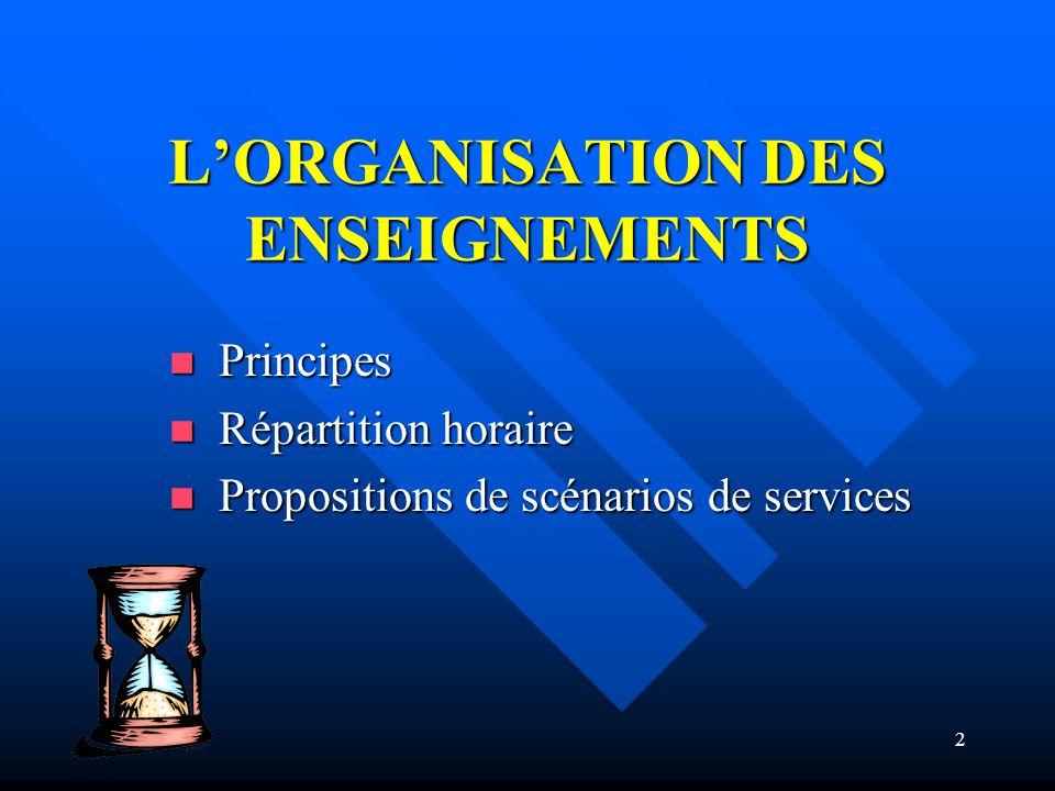 2 LORGANISATION DES ENSEIGNEMENTS Principes Principes Répartition horaire Répartition horaire Propositions de scénarios de services Propositions de scénarios de services