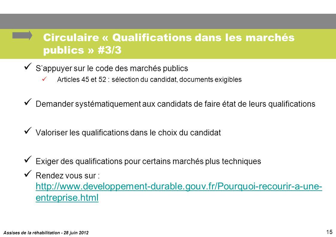Assises de la réhabilitation - 28 juin 2012 15 Circulaire « Qualifications dans les marchés publics » #3/3 Sappuyer sur le code des marchés publics Ar