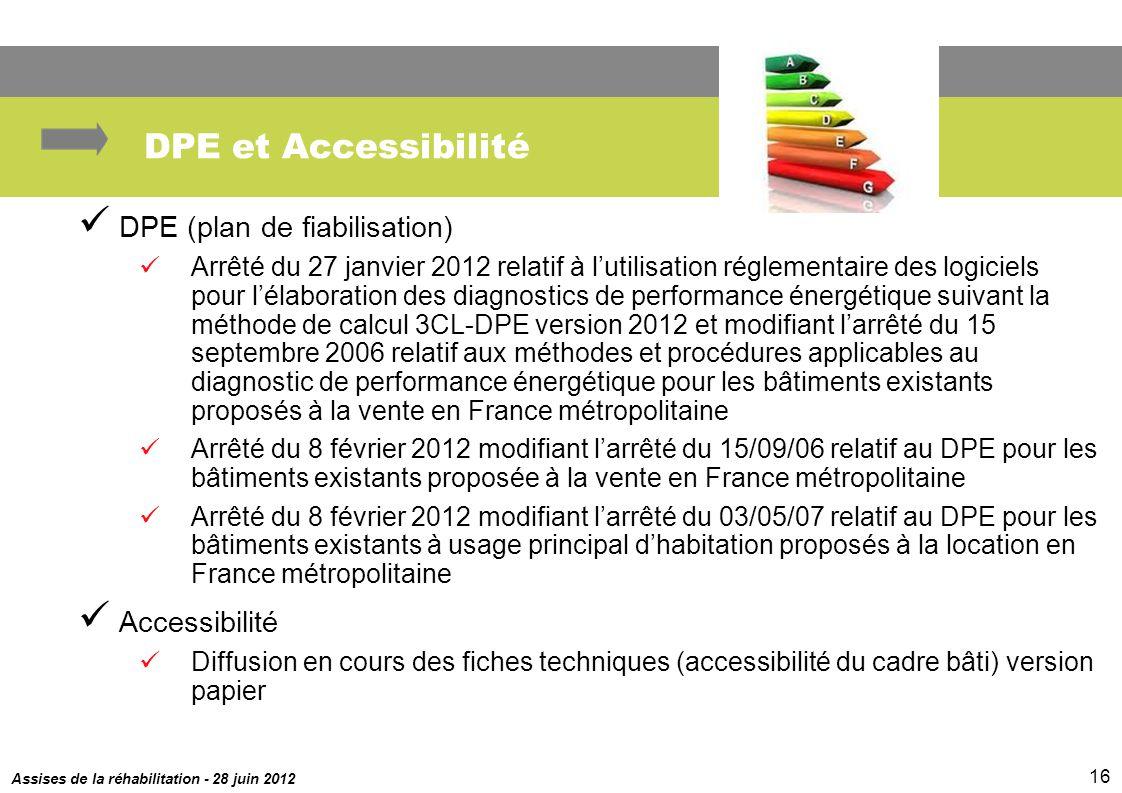 Assises de la réhabilitation - 28 juin 2012 16 DPE et Accessibilité DPE (plan de fiabilisation) Arrêté du 27 janvier 2012 relatif à lutilisation régle