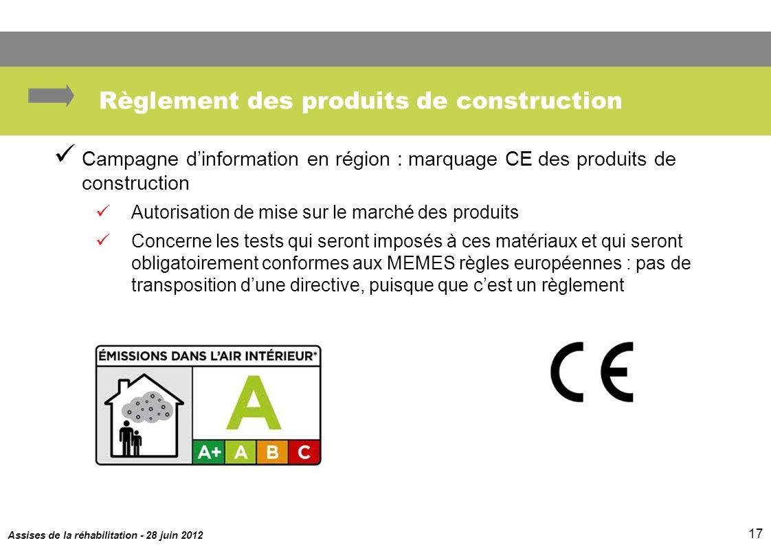 Assises de la réhabilitation - 28 juin 2012 17 Règlement des produits de construction Campagne dinformation en région : marquage CE des produits de co