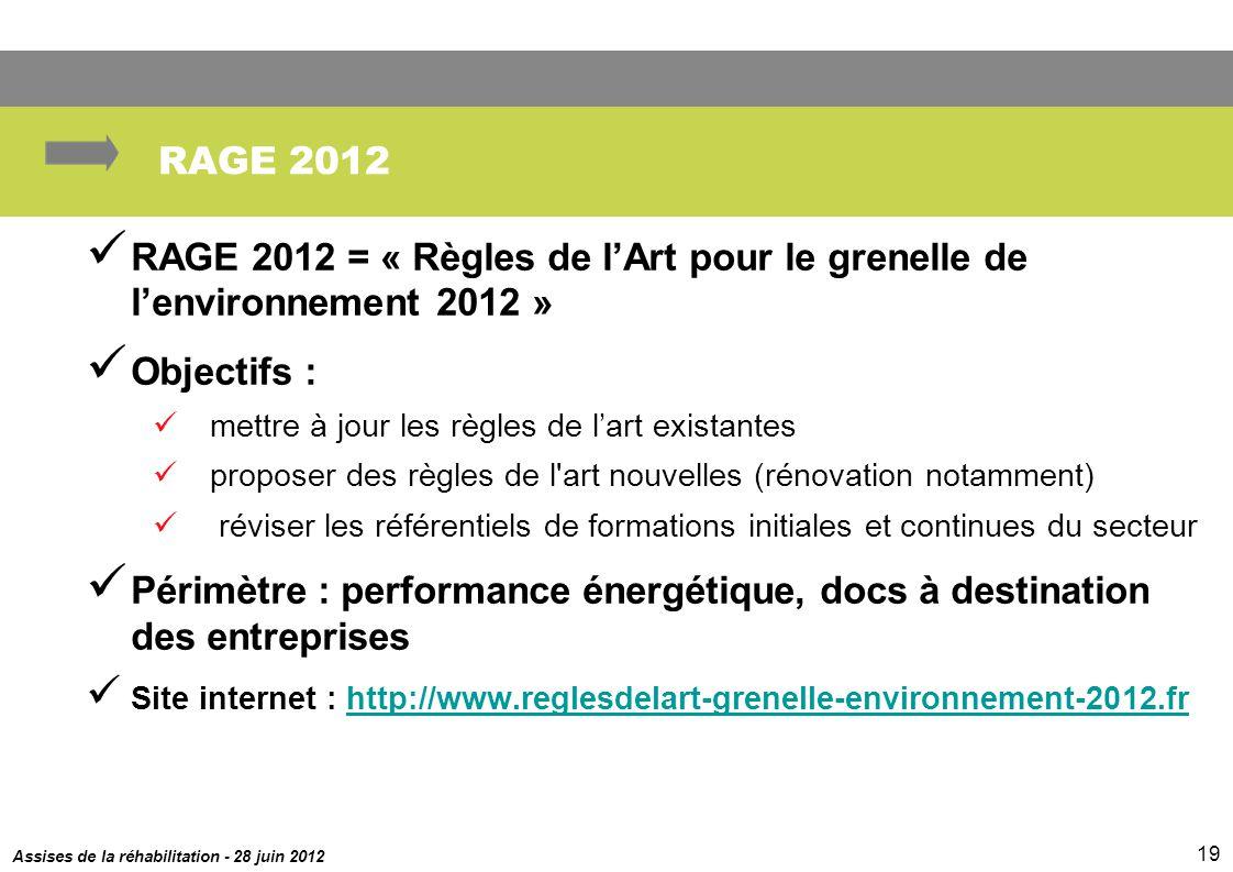 Assises de la réhabilitation - 28 juin 2012 19 RAGE 2012 RAGE 2012 = « Règles de lArt pour le grenelle de lenvironnement 2012 » Objectifs : mettre à j