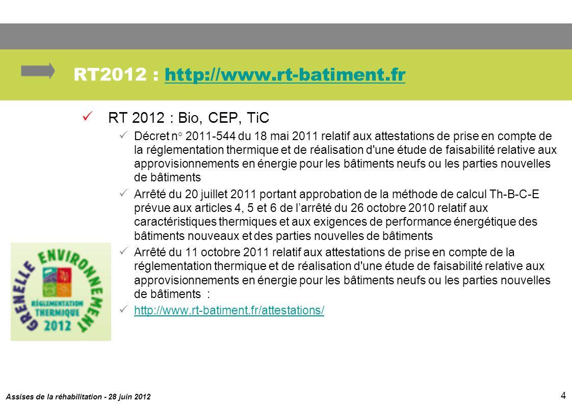 Assises de la réhabilitation - 28 juin 2012 4 RT2012 : http://www.rt-batiment.frhttp://www.rt-batiment.fr RT 2012 : Bio, CEP, TiC Décret n° 2011-544 d