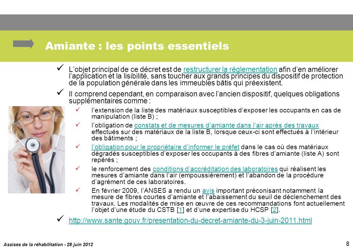 Assises de la réhabilitation - 28 juin 2012 8 Amiante : les points essentiels Lobjet principal de ce décret est de restructurer la réglementation afin