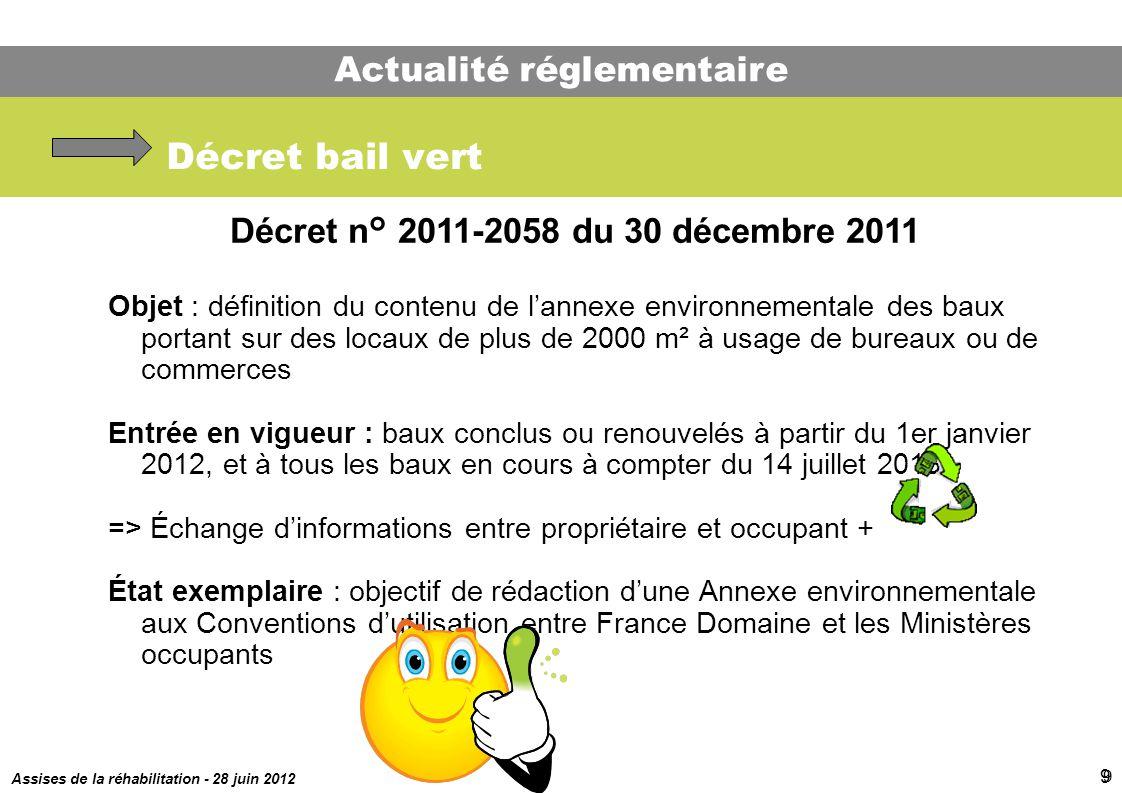 Assises de la réhabilitation - 28 juin 2012 9 Décret bail vert Décret n° 2011-2058 du 30 décembre 2011 Objet : définition du contenu de lannexe enviro