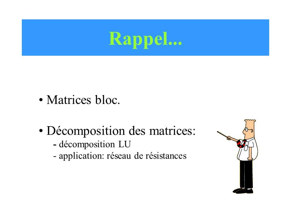 Rappel... Matrices bloc. Décomposition des matrices: - décomposition LU - application: réseau de résistances