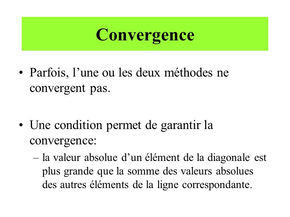 Convergence Parfois, lune ou les deux méthodes ne convergent pas. Une condition permet de garantir la convergence: –la valeur absolue dun élément de l
