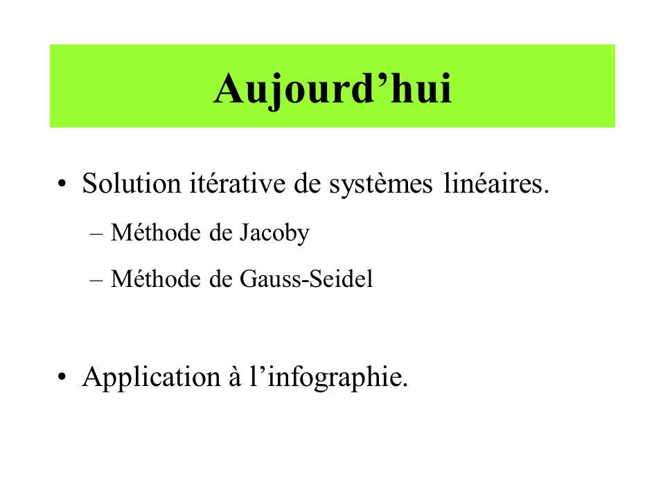 Aujourdhui Solution itérative de systèmes linéaires. –Méthode de Jacoby –Méthode de Gauss-Seidel Application à linfographie.