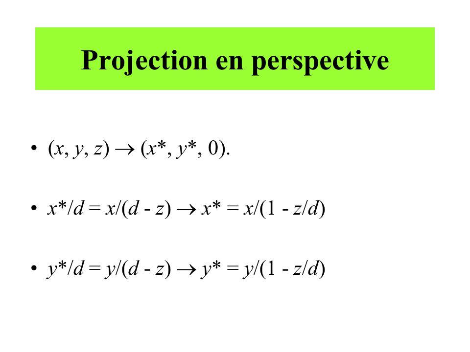 Projection en perspective (x, y, z) (x*, y*, 0). x*/d = x/(d - z) x* = x/(1 - z/d) y*/d = y/(d - z) y* = y/(1 - z/d)