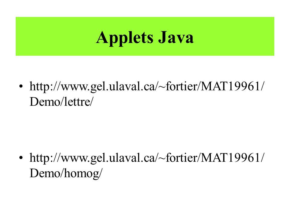 Applets Java http://www.gel.ulaval.ca/~fortier/MAT19961/ Demo/lettre/ http://www.gel.ulaval.ca/~fortier/MAT19961/ Demo/homog/