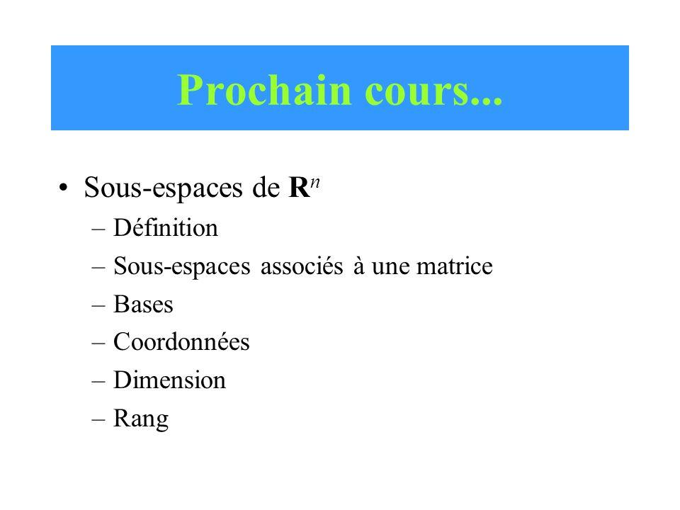 Prochain cours... Sous-espaces de R n –Définition –Sous-espaces associés à une matrice –Bases –Coordonnées –Dimension –Rang
