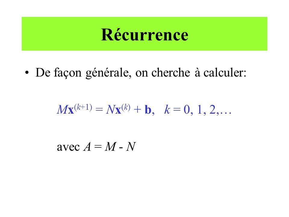 Récurrence De façon générale, on cherche à calculer: Mx (k+1) = Nx (k) + b, k = 0, 1, 2,… avec A = M - N