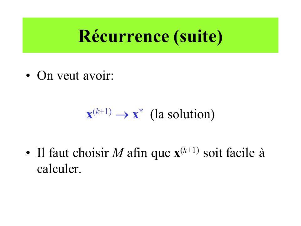 Récurrence (suite) On veut avoir: x (k+1) x * (la solution) Il faut choisir M afin que x (k+1) soit facile à calculer.