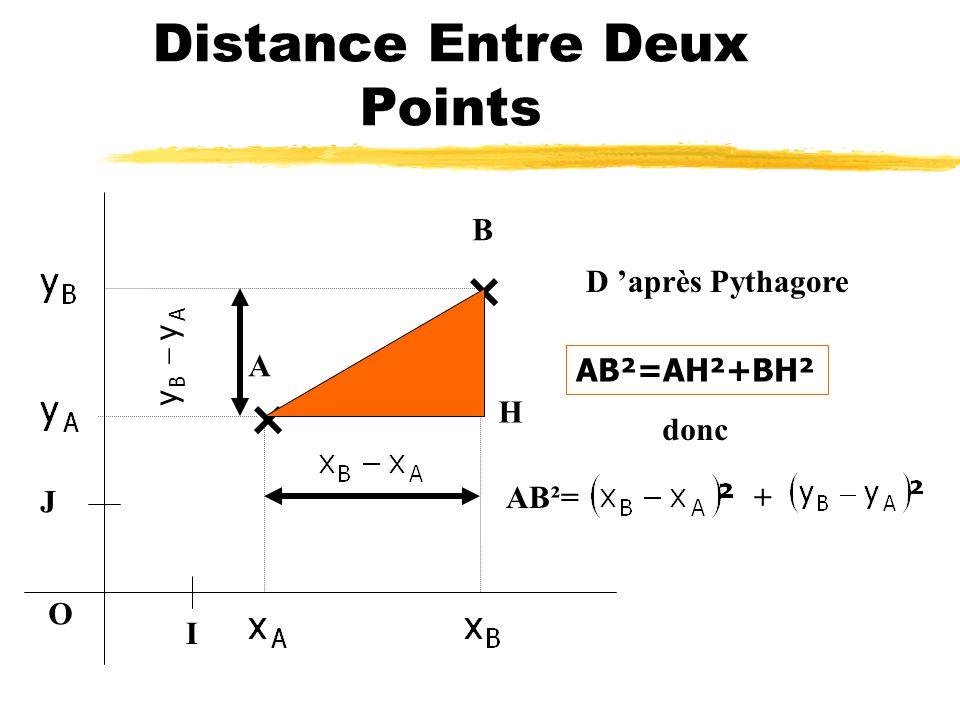 Distance Entre Deux Points O I J A B H Le côté [BH] mesure AB y y
