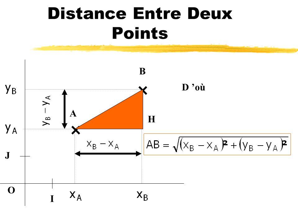 Distance Entre Deux Points I O J A B AB²=+ D après Pythagore AB yy AB²=AH²+BH² donc H