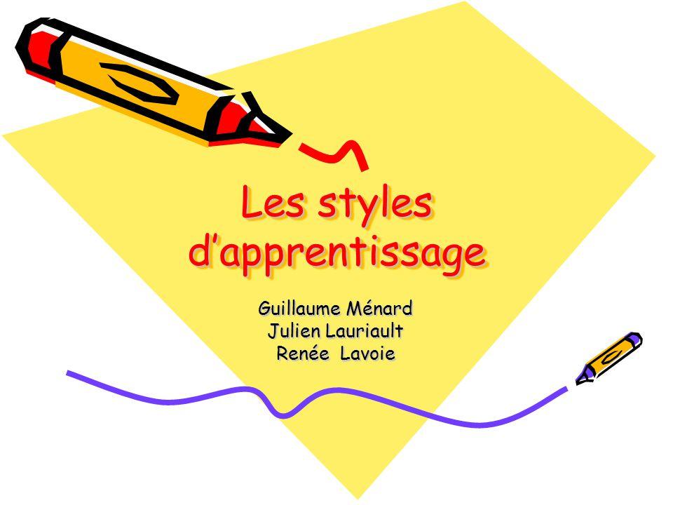 Les styles dapprentissage Guillaume Ménard Julien Lauriault Renée Lavoie