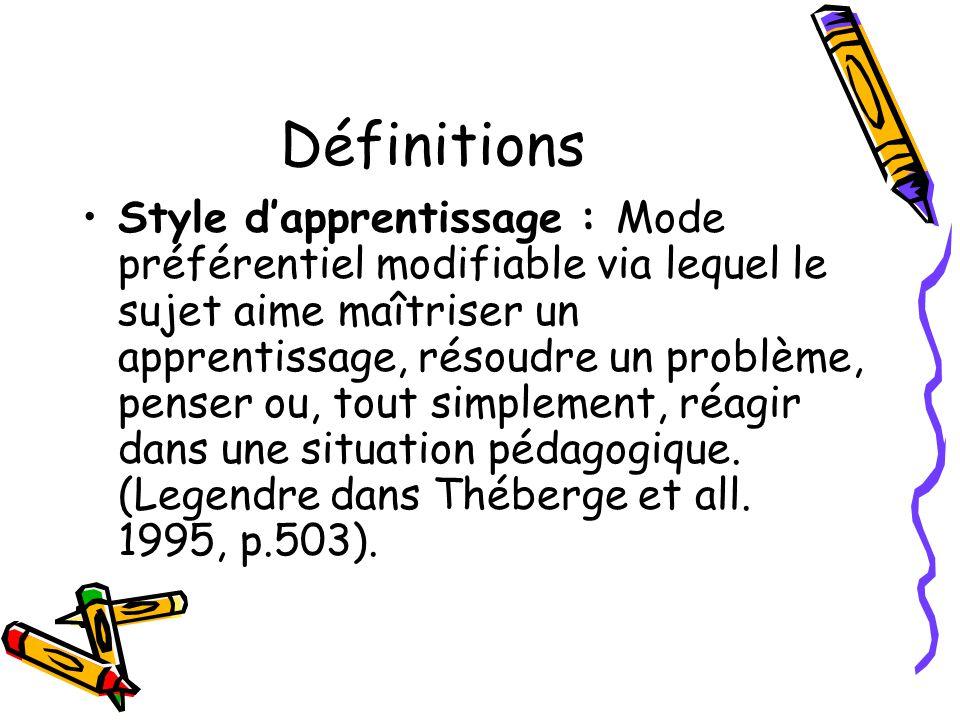 Définitions Style dapprentissage : Mode préférentiel modifiable via lequel le sujet aime maîtriser un apprentissage, résoudre un problème, penser ou,