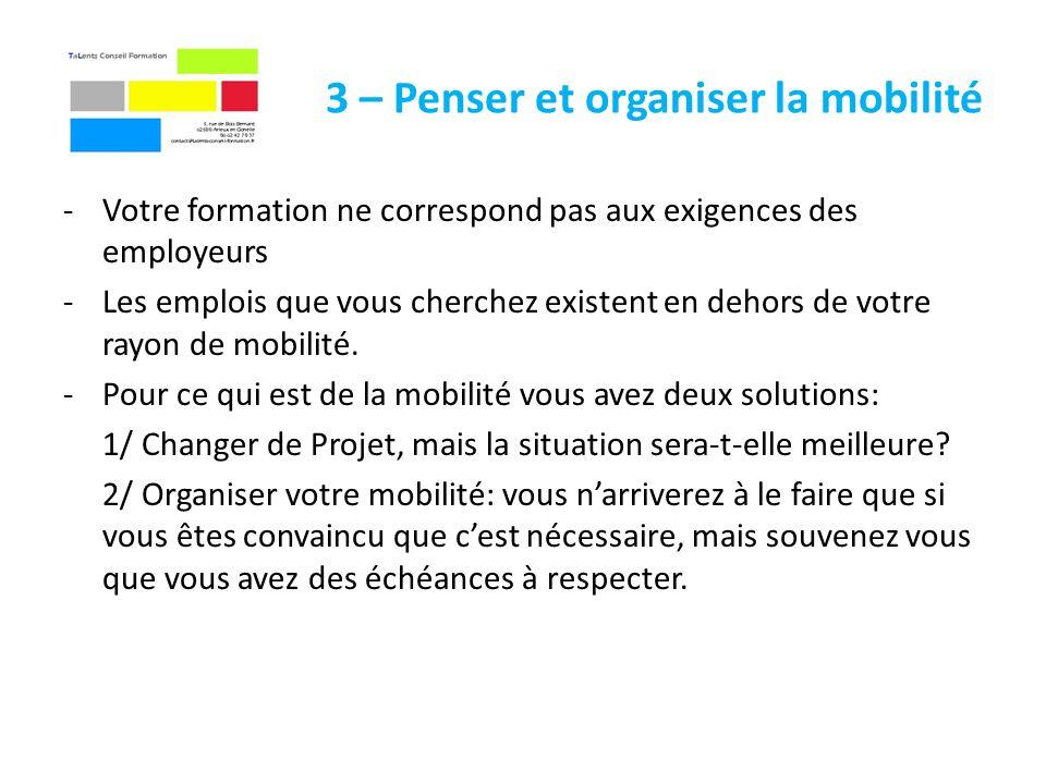 3 – Penser et organiser la mobilité -Votre formation ne correspond pas aux exigences des employeurs -Les emplois que vous cherchez existent en dehors