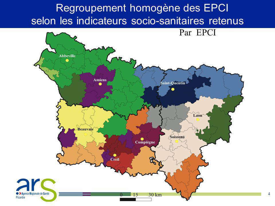 4 Regroupements homogènes selon les indicateurs sociaux-sanitaires retenus Par EPCI Regroupement homogène des EPCI selon les indicateurs socio-sanitaires retenus